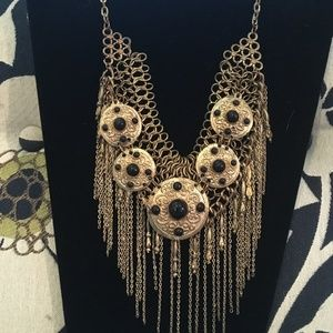 Vintage Bib Style Choker Necklace with Chains